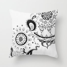 Black and White Boho Throw Pillow