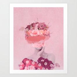 Woman in flowers Art Print