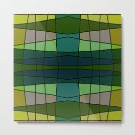 Green Pattern Turtle Metal Print