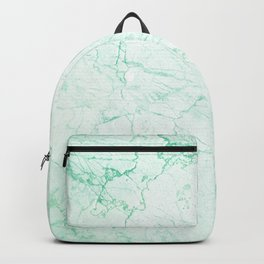 pastel mint green stone cracked marble Backpack