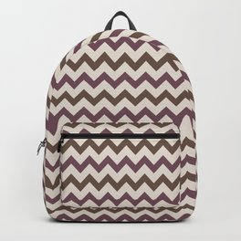 Brown Cream Purple Chevron Horizontal Line Pattern 2021 Color of the Year Canyon Dusk & Accents Backpack
