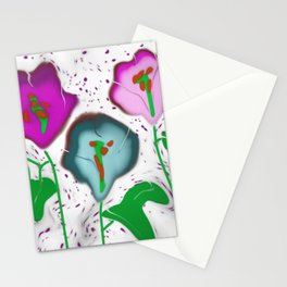 Glass Fused Flowers Digital Stationery Cards