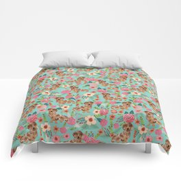 Dapple Dachshund cream doxie lover floral must have gifts dachsie flowers Comforters