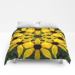 Black-eyed susan kaleidoscope, mandala Comforters