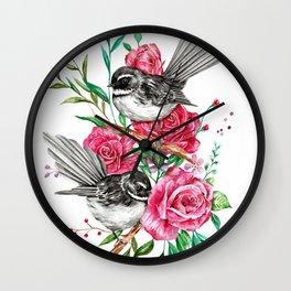 Floral Piwakawakas Wall Clock
