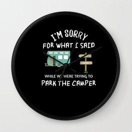 Funny RV Camping design - Happy Camper Humor Wall Clock
