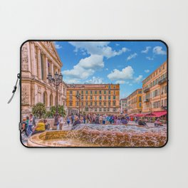 People in Nice Plaza with Fountain Laptop Sleeve