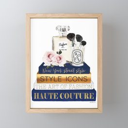 Fashion watercolor books, in navy and gold, perfume, roses, make up brushes, Framed Mini Art Print