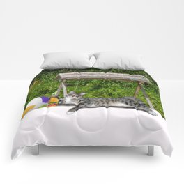 Vacation Time - Beach Bum Kitty Comforters
