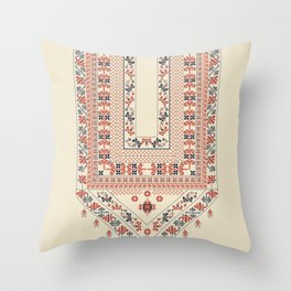 Palestinian traditional embroidery motif Throw Pillow