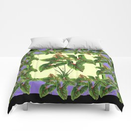 Green Tropical Botanical Foliage  Lilac-Black Art Comforters