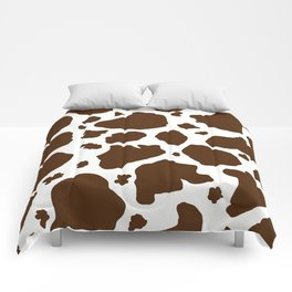 cow spots animal print dark chocolate brown white Comforters