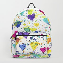 Colorful Heart Pattern Paint Splatters Backpack