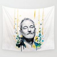 bill Wall Tapestries featuring Bill Murray by Denise Esposito