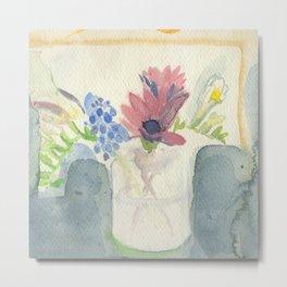 Flowers in Jar, 2 Metal Print