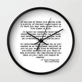 It was one of those rare smiles - F. Scott Fitzgerald Wall Clock
