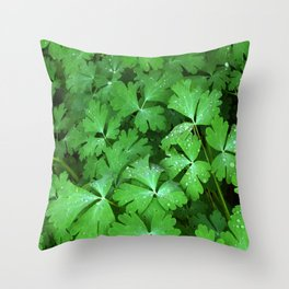 Dewy Leaves Throw Pillow