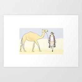 Trek with camel Art Print