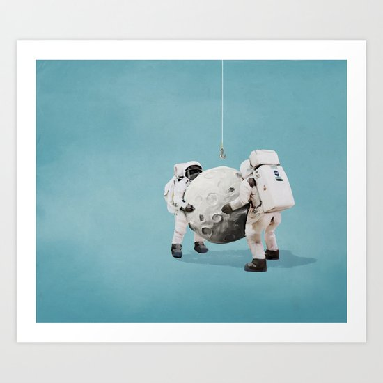 Hanging the moon Art Print
