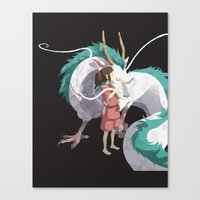 spirited away Canvas Prints featuring Spirited Away by ThisTinyBean.