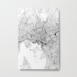 Oslo White Map Metal Print
