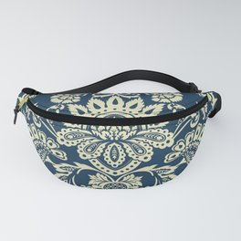 damask in white and blue vintage Fanny Pack