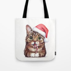 Christmas Animal Santa Cat Tote Bag
