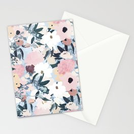 Pretty Grayish Blue Watercolor Pink & White Floral Design Stationery Cards