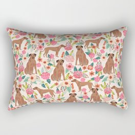 Rhodesian Ridgeback floral dog breed gifts pure breed must have dog pattern Rectangular Pillow