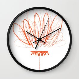 Orange Flower Petal Scribble Wall Clock