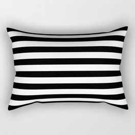 Horizontal Stripes (Black/White) Rectangular Pillow