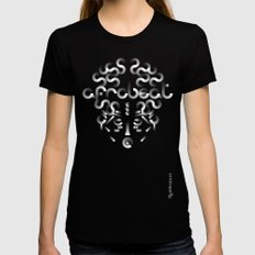 Afrobeat Mask Womens Fitted Tee LARGE Black