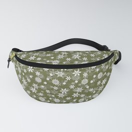 Festive Terrarium Moss Green and White Christmas Holiday Snowflakes Fanny Pack