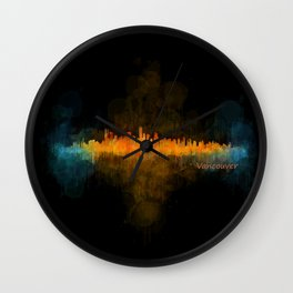 Vancouver Canada City Skyline Hq v04 dark Wall Clock