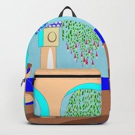A Mediterranean Garden with Fountain Backpack