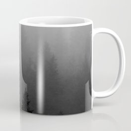 Minimalist Black and White Foggy Misty Landscape Photography Pine Forest Coffee Mug