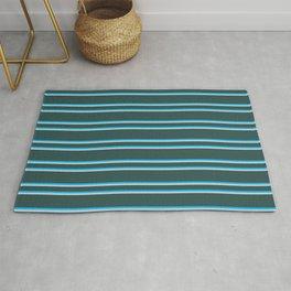 Dark Slate Gray, Deep Sky Blue & Light Gray Colored Lines Pattern Rug