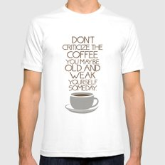 Coffee Warning Mens Fitted Tee White MEDIUM