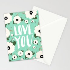 Love you Floral - Turquoise Stationery Cards