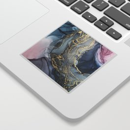 Blush, Payne's Gray and Gold Metallic Abstract Sticker