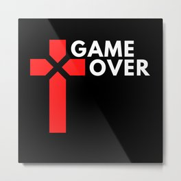 Cool Game Over Gamer Design Metal Print