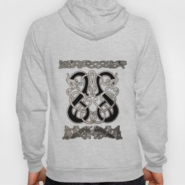 Old norse design - Two Jellinge-style entwined beasts originally carved on a rune stone in Gotland. Hoody