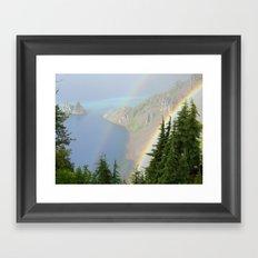 Rainbow on Crater Lake Framed Art Print