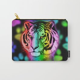 Tiger Neon Dripping Rainbow Colors Carry-All Pouch