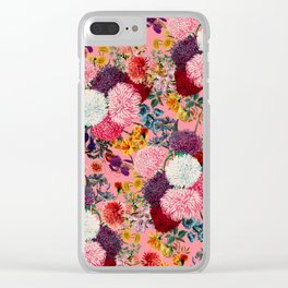 Floral Pink Pattern Clear iPhone Case