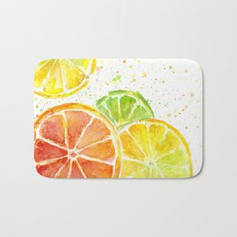 Fruit Watercolor Citrus Bath Mat