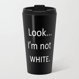 white: black Travel Mug