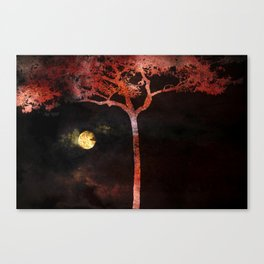 Full  Moon and Colorful Tree Canvas Print