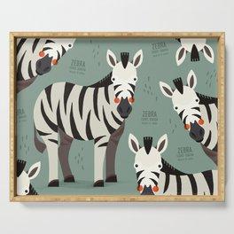Zebra, African Wildlife Serving Tray