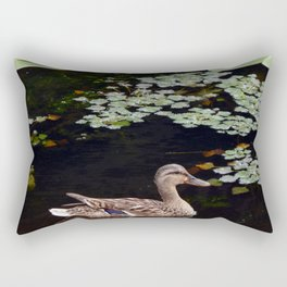 Ducks swim in the summer along the river on the water Rectangular Pillow